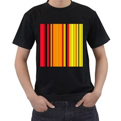 Hot Stripes Fire Men s T Shirt (black) (two Sided)
