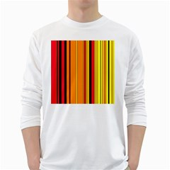 Hot Stripes Fire White Long Sleeve T Shirts