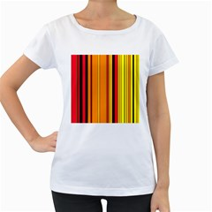 Hot Stripes Fire Women s Loose-Fit T-Shirt (White)