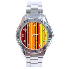Hot Stripes Fire Stainless Steel Men s Watch