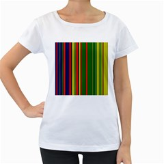 Hot Stripes Grenn Blue Women s Loose-Fit T-Shirt (White)