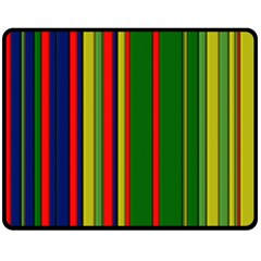 Hot Stripes Grenn Blue Fleece Blanket (Medium)
