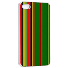 Hot Stripes Grenn Blue Apple iPhone 4/4s Seamless Case (White)