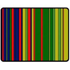 Hot Stripes Grenn Blue Double Sided Fleece Blanket (Medium)