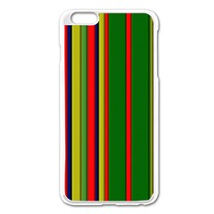 Hot Stripes Grenn Blue Apple iPhone 6 Plus Enamel White Case