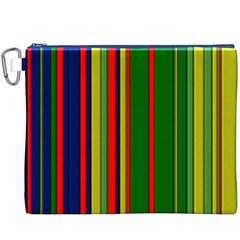 Hot Stripes Grenn Blue Canvas Cosmetic Bag (XXXL)
