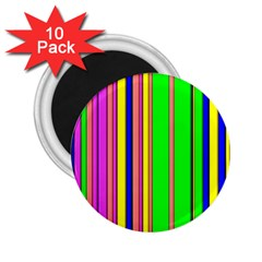 Hot Stripes Rainbow 2 25  Magnets (10 Pack)