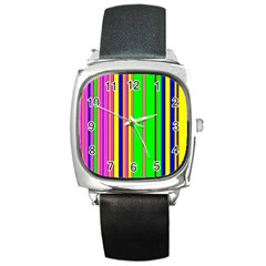 Hot Stripes Rainbow Square Metal Watches