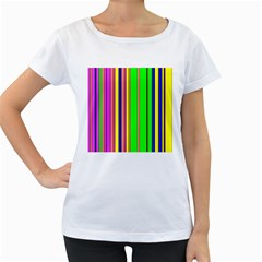 Hot Stripes Rainbow Women s Loose-Fit T-Shirt (White)