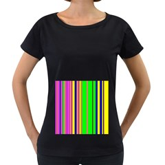 Hot Stripes Rainbow Women s Loose-Fit T-Shirt (Black)