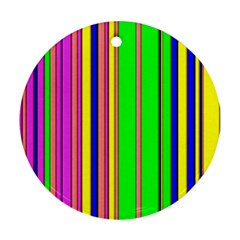 Hot Stripes Rainbow Round Ornament (two Sides)