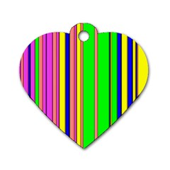 Hot Stripes Rainbow Dog Tag Heart (two Sides)