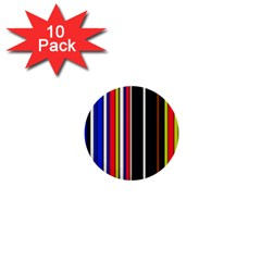 Hot Stripes Red Blue 1  Mini Buttons (10 Pack)