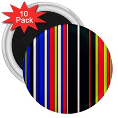 Hot Stripes Red Blue 3  Magnets (10 Pack)