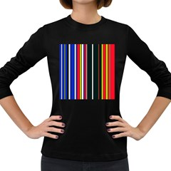 Hot Stripes Red Blue Women s Long Sleeve Dark T Shirts