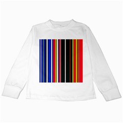 Hot Stripes Red Blue Kids Long Sleeve T-Shirts