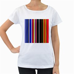 Hot Stripes Red Blue Women s Loose-Fit T-Shirt (White)