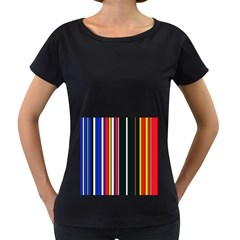 Hot Stripes Red Blue Women s Loose-Fit T-Shirt (Black)
