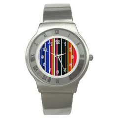 Hot Stripes Red Blue Stainless Steel Watches
