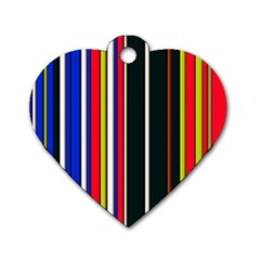 Hot Stripes Red Blue Dog Tag Heart (two Sides)