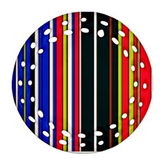 Hot Stripes Red Blue Round Filigree Ornament (2Side)