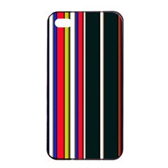Hot Stripes Red Blue Apple Iphone 4/4s Seamless Case (black)
