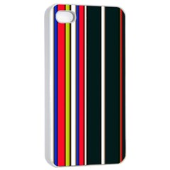 Hot Stripes Red Blue Apple iPhone 4/4s Seamless Case (White)