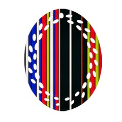 Hot Stripes Red Blue Ornament (Oval Filigree)