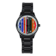 Hot Stripes Red Blue Stainless Steel Round Watches