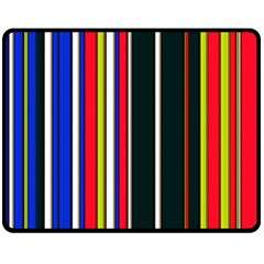 Hot Stripes Red Blue Double Sided Fleece Blanket (Medium)