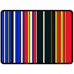 Hot Stripes Red Blue Double Sided Fleece Blanket (Large)