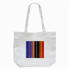 Hot Stripes Red Blue Tote Bag (White)