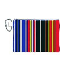 Hot Stripes Red Blue Canvas Cosmetic Bag (M)
