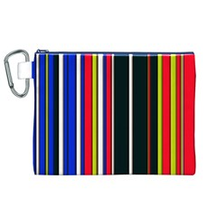 Hot Stripes Red Blue Canvas Cosmetic Bag (XL)
