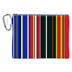 Hot Stripes Red Blue Canvas Cosmetic Bag (XXL)
