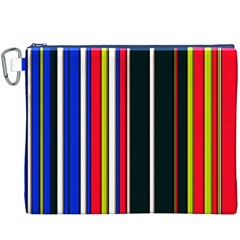 Hot Stripes Red Blue Canvas Cosmetic Bag (XXXL)