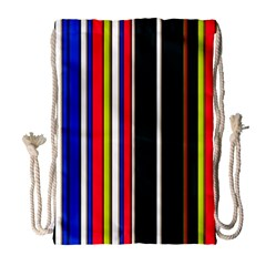 Hot Stripes Red Blue Drawstring Bag (large)