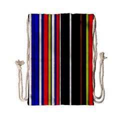 Hot Stripes Red Blue Drawstring Bag (Small)