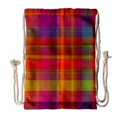 Plaid, Hot Drawstring Bag (Large)