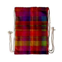 Plaid, Hot Drawstring Bag (small)