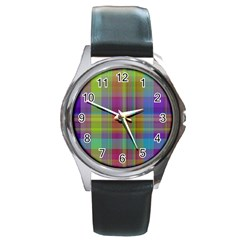 Plaid, Cool Round Metal Watches