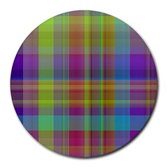 Plaid, Cool Round Mousepads