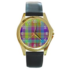 Plaid, Cool Round Gold Metal Watches