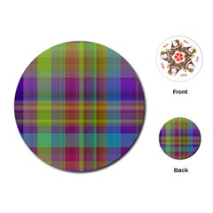 Plaid, Cool Playing Cards (round)