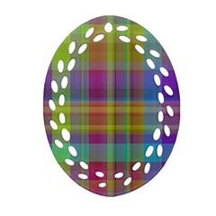 Plaid, Cool Oval Filigree Ornament (2-Side)