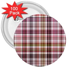Plaid, Candy 3  Buttons (100 Pack)