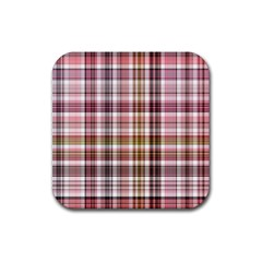 Plaid, Candy Rubber Square Coaster (4 Pack)