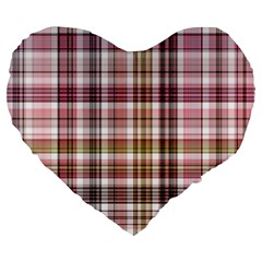 Plaid, Candy Large 19  Premium Flano Heart Shape Cushions