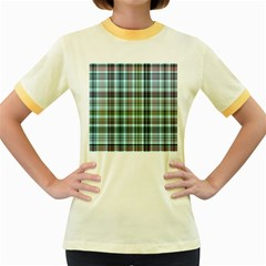 Plaid Ocean Women s Fitted Ringer T-Shirts