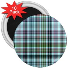 Plaid Ocean 3  Magnets (10 Pack)